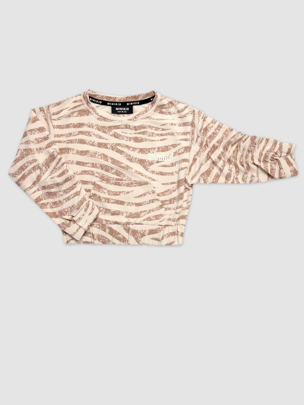 Zebra pinched sweatshirt carmel