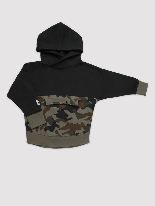 Panel camo hoodie